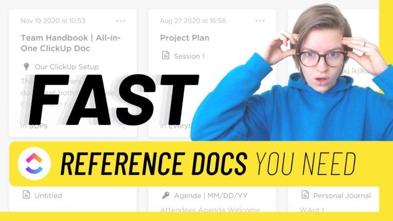 Clickup reference docs, clickup docs, clickup consultant, clickup tutorial, clickup training