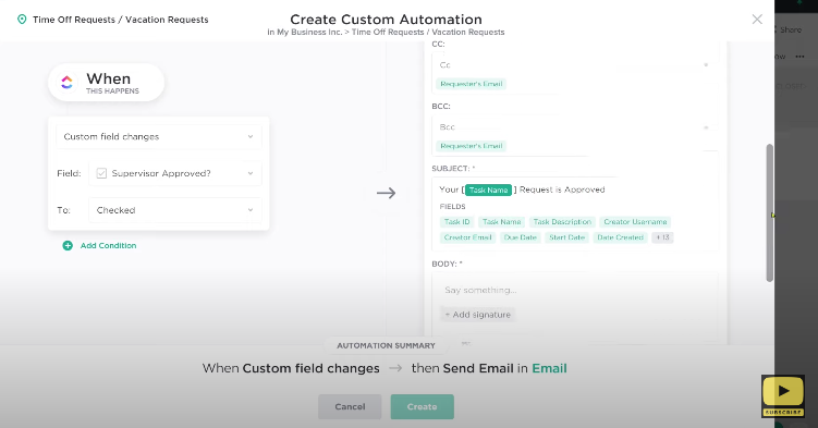 Automation clickup