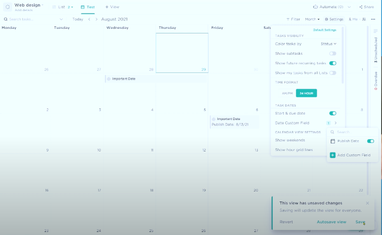 How to use Custom Dates in ClickUp Calendar View